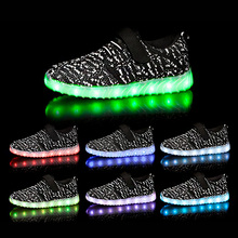 Hook & Loop Kids Glowing Shoes Boys Girls Flash Led Light Shoes Muti Color Children Luminous Sneakers kids shoes led glowing sneakers children 7 colors light up luminous sole girls boys casual shoes kids usb charging sneakers