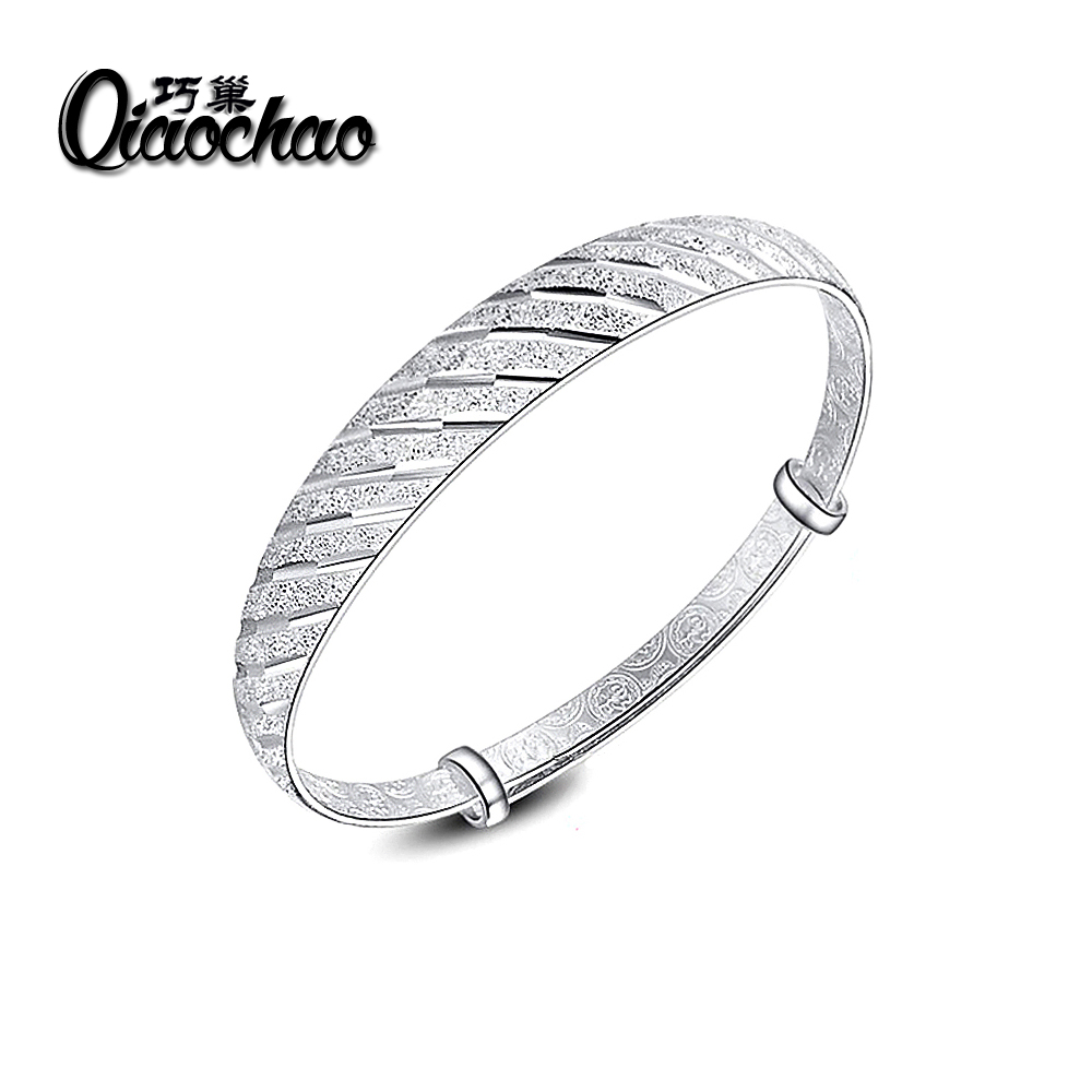 New Silver Plated Bangle Meteor Shower Charm Cuff Bracelets For Women Party Birthday Jewelry Wristband Adjustable Wide Bangle