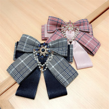 Korea Handmade Fabric Plaid Vintage Bowknot Rhinestone Pearl Shirt Pins Neck Bow Tie Accessories Fashion Jewelry-YHNLB041F