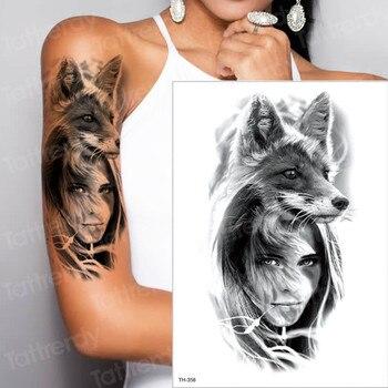 2019 new make up Fake temporary tattoos stickers girl wolf fox bear arm shoulder back tattoo waterproof women big tattoo on body