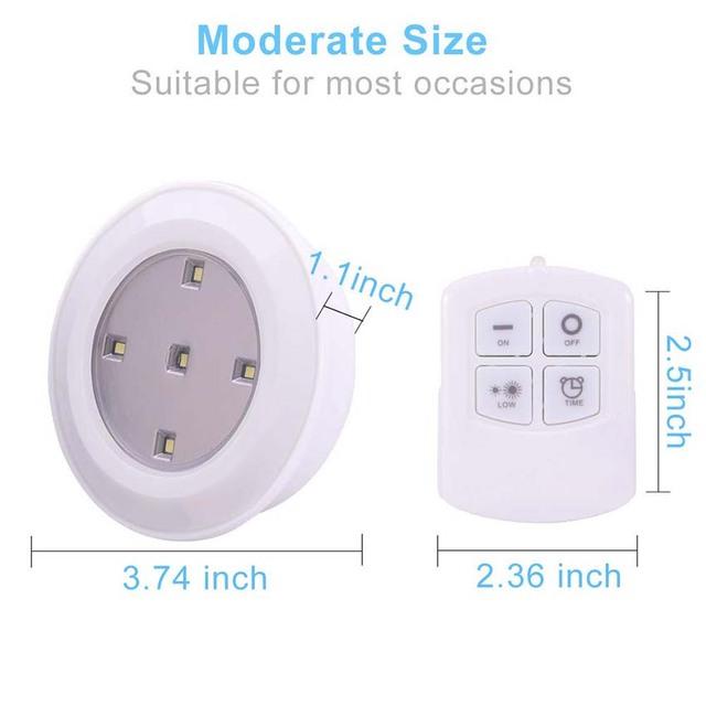 Wireless Dimmable Touch Sensor Led Under Cabinet Light LED Puck Lights Wall Lamp Wardrobe Cupboard Closet Kitchen Night Light