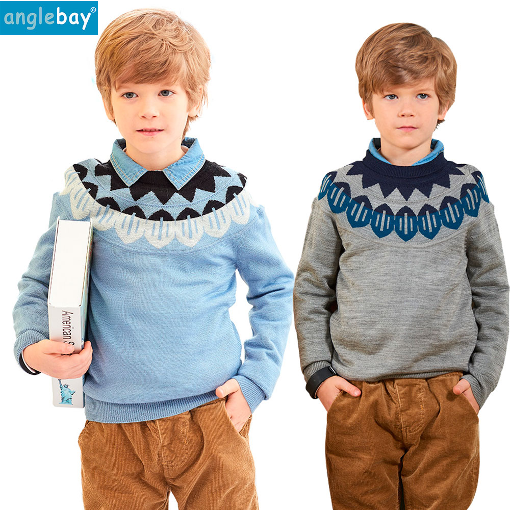 Anglebay Boys Girl Knitted Kids Pullover Sweater Long Sleeve O Neck Print Winter Warm Wool Casual Unisex Knitwear Kids Sweater boys girls winter sweater kids knitted pullover sweater thicken warm kids cardigan sweater double breasted children outwear 2 5t
