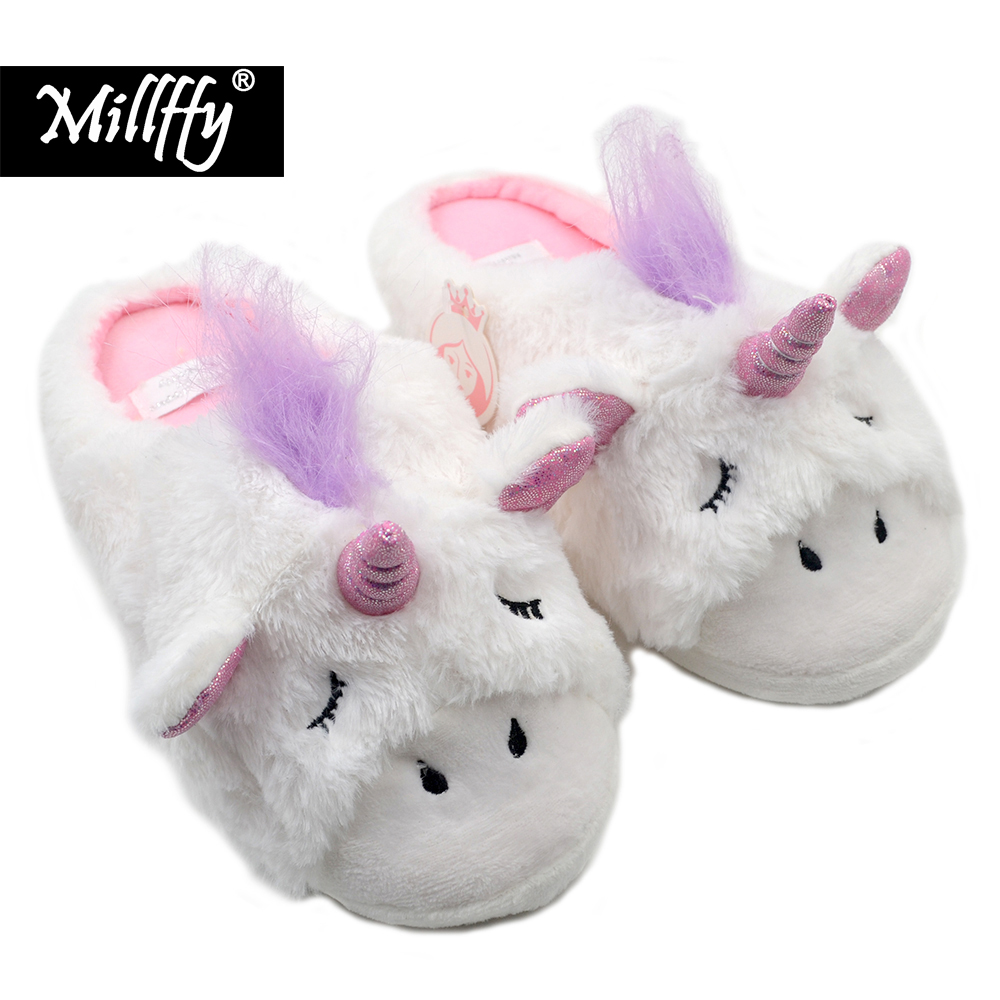 Millffy Unicorn Slippers | Indoor Outdoor Sneakers | Cozy Plush Shoes Woman Slippers | Cute Fluffy Girls Slippers