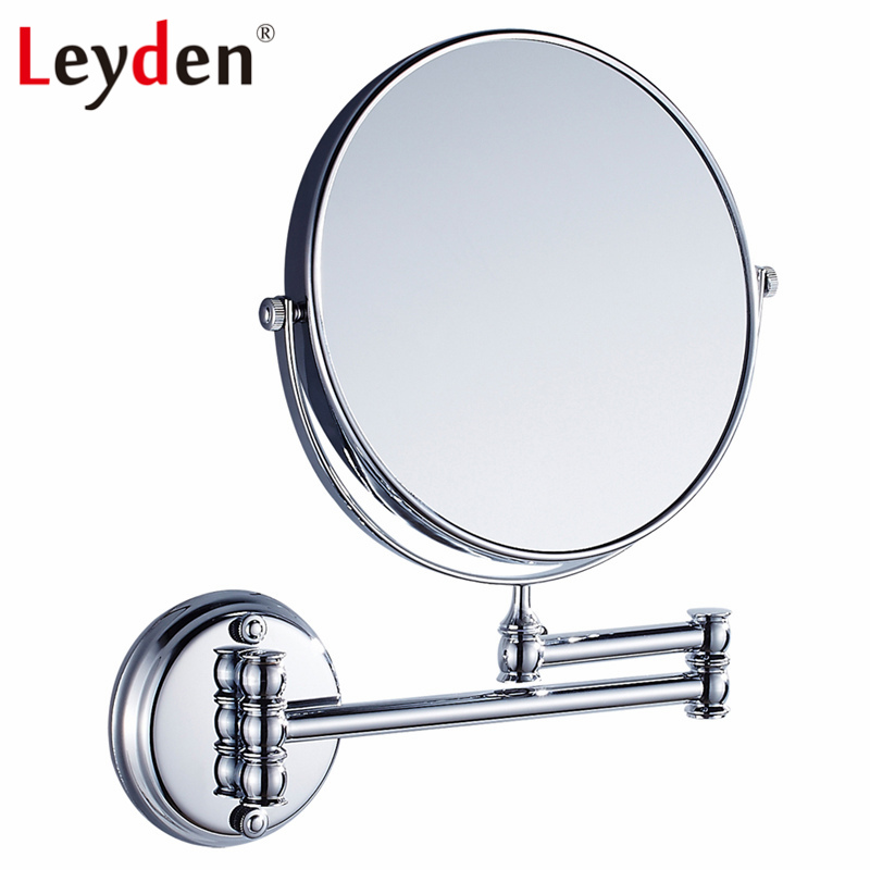 Leyden Bathroom Mirror 8-inch Two-sided Swivel Chrome Wall Mount Makeup Mirror for Bathroom Solid Brass Bathroom Accessories все цены