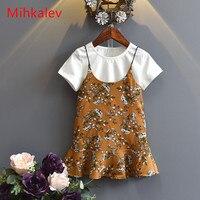 Mihkalev 2018 여름 어린이 의류 의상 소녀 세트 어린이 세트 tshirt 드레스 아이 여자 2 개 운동