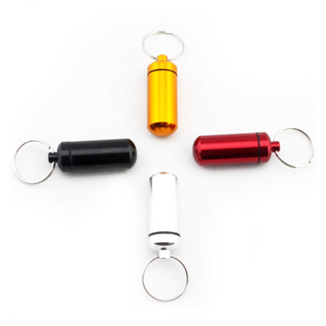 صندوق زجاجة دواء صغير مختومة صندوق لحبوب الدواء من المعدن الألومنيوم تخزين حاوية علب مقاوم للماء سبائك الألومنيوم حلقة رئيسية