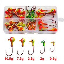 46st Multicolor 3D Fish Eyes Jig Head Fishing Kroge High Carbon Steel Red Lead Head Lures Fiskekroge Set With Box