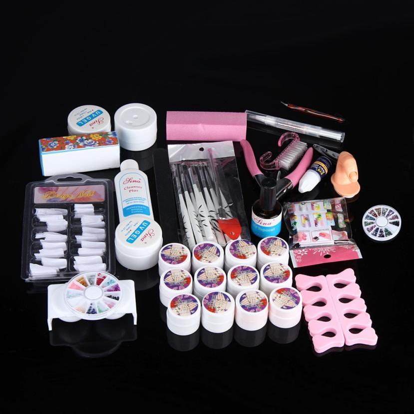 Hot Pro Full 36W White Cure Lamp Dryer + 12 Color UV Gel Nail Art Tools Set Kit Y503