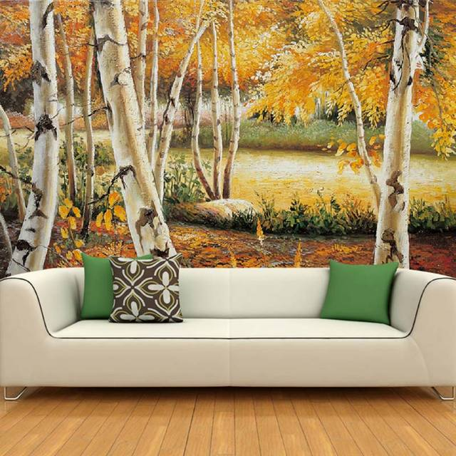 Home Decor Mural Bedroom Wall Papers European Painting Birch Tree Landscape  Photo Wallpaper Murals( Part 58