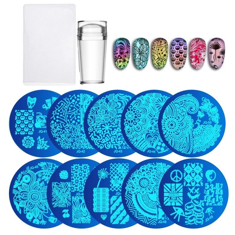10 pcs Nail Plaques + Clair Gelée Silicone Nail Art Stamper Grattoir avec Cap Stamping modèle Image Plaques Nail Timbre plaque Outil