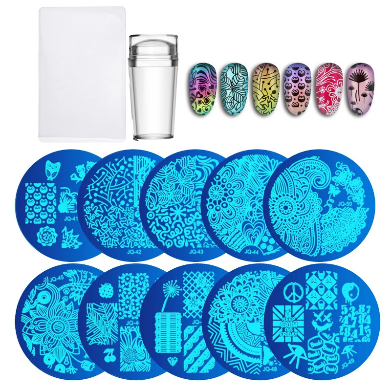 10 piezas de platos + claro silicona uñas Art Stamper raspador con tapa de plantilla de placas de imagen de uñas sello placa de herramienta