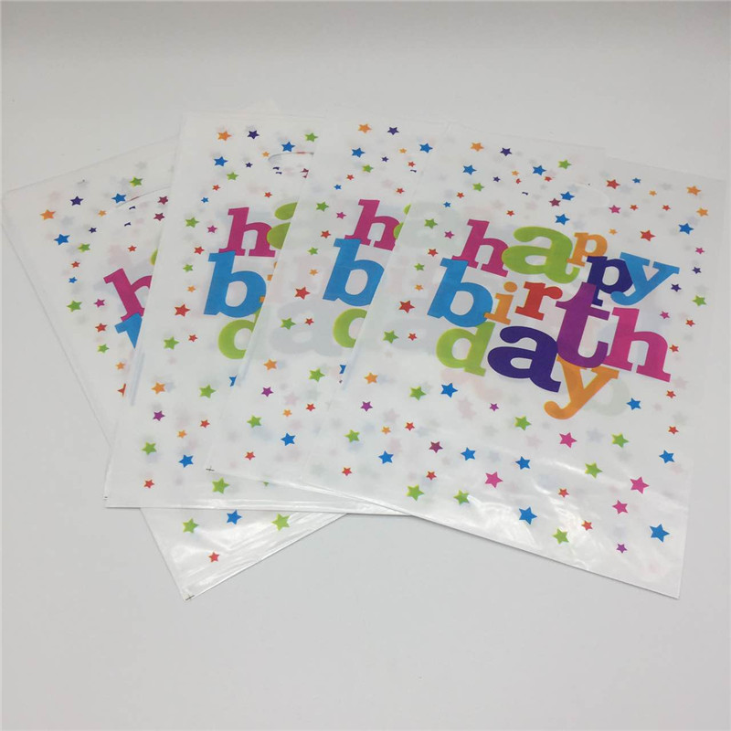 10pcslot white star Birthday Party Plastic Disposable Loot Candy Bags Decoration Kids Favors Gift Bag Baby party Supplies