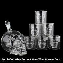Набор стеклянных стаканов es с хрустальным черепом, 700 мл, стеклянная бутылка для виски, вина, 75 мл, стеклянные стаканы es, графин, домашний бар, водка, кружки для питья