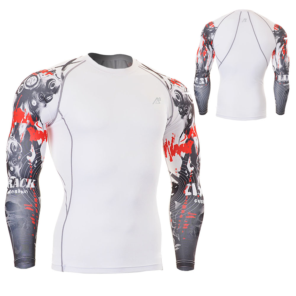 Life on Track Ciclismo Verano Exquisite Printing Two-Sides Riding Tops Long Sleeve Riding Clothing Men Tight Fitness Shirts