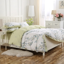 100 cotton floral printed king queen green french style duvet cover set with 1 duvet