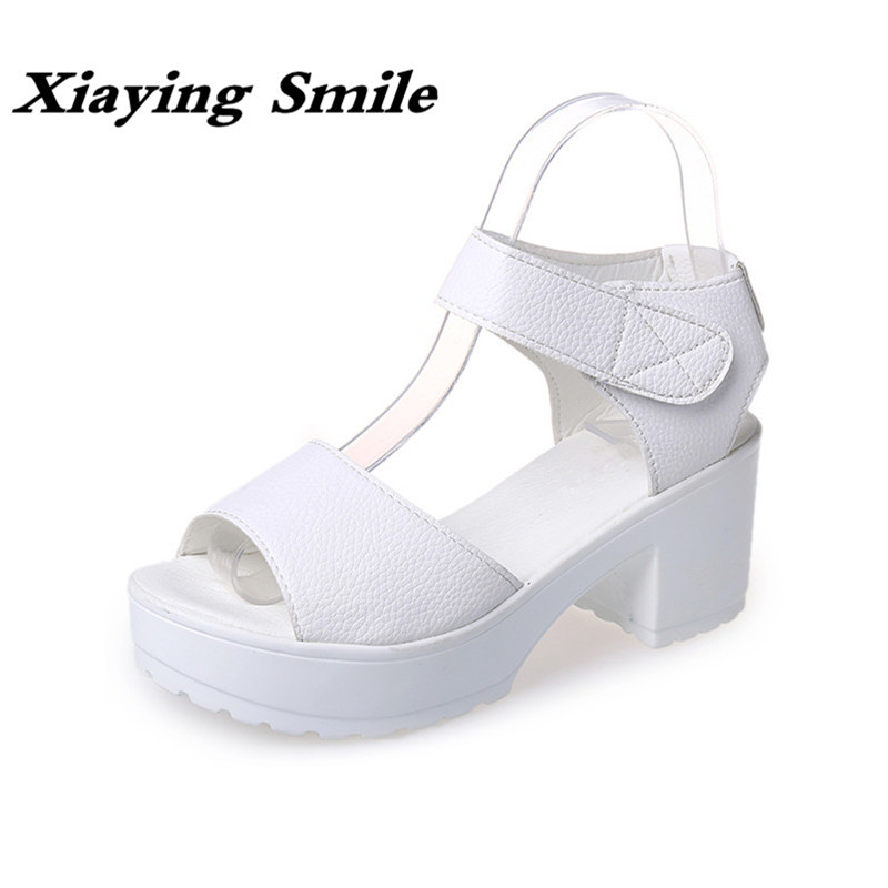 Xiaying Smile New Hot Women Sandals Platform High Heels Square Heels Pumps Spring Summer Shoes Casual Ladies Shoes Size 35-41 xiaying smile woman sandals shoes women pumps summer casual platform wedges heels buckle strap flock hollow rubber women shoes