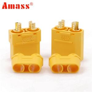 Image 2 - 100 pçs/lote amass xt90 xt90h conjunto de conector da bateria 4.5mm macho fêmea banhado a ouro banana plug (50 par)