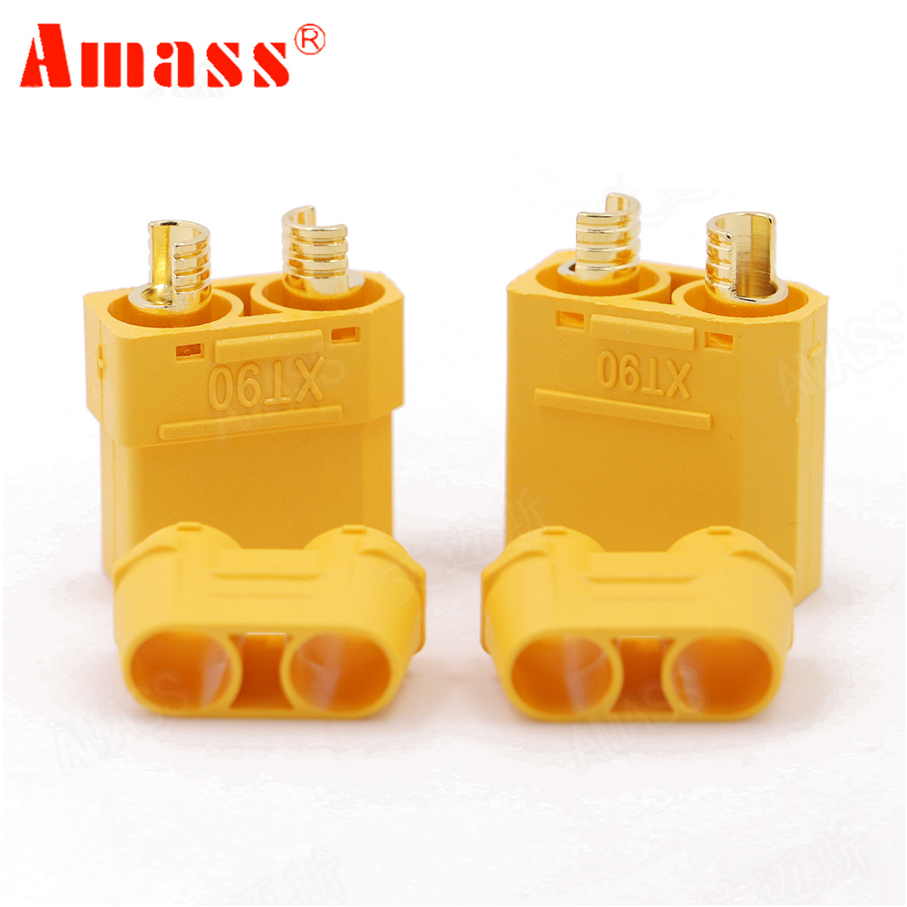 4pcs/lot Amass XT90 Battery Connector Set 4.5mm Male Female Gold Plated Banana Plug For RC Model Battery (2 Pair)