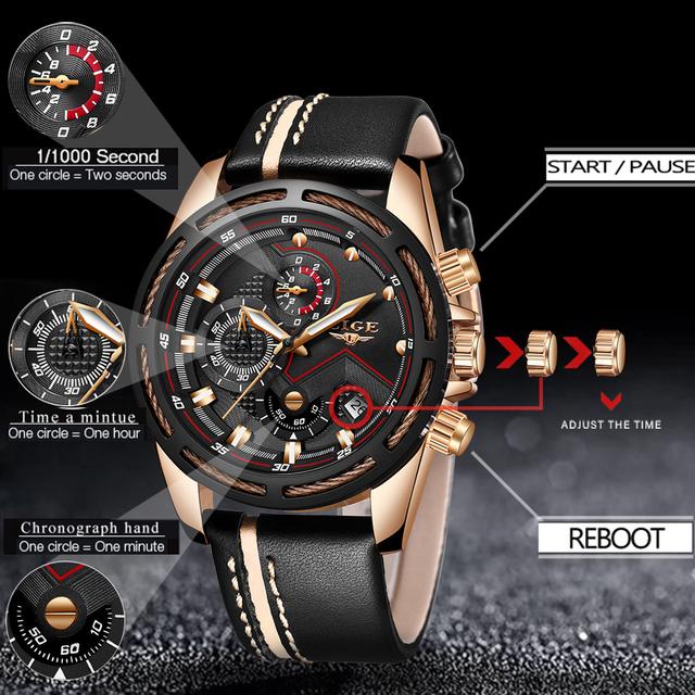 LIGE Watch Men Fashion Sport Quartz Leather Waterproof Business Watch