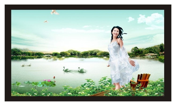 PVC Fabric Matte With 1.1 Gain Projector projection screen Wall Mounted Matt White for all projector (3)