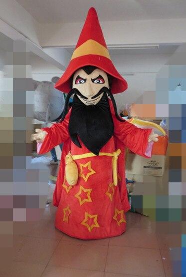 Genial rouge sorcier assistant nécromancien Warlock mascotte Costume avec grand chapeau bleu yeux brillants blanc sourcils épais