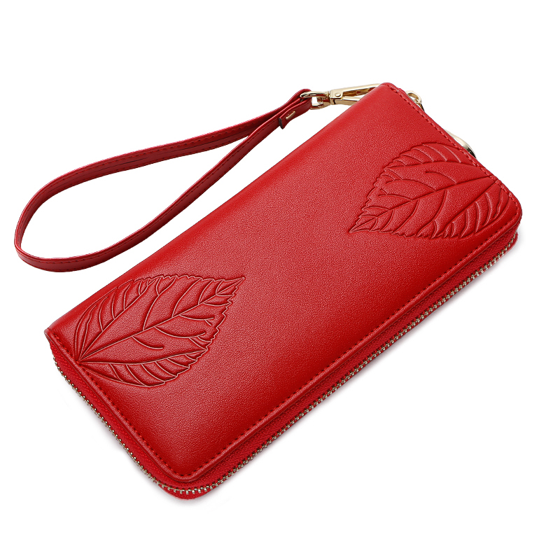 ZOOLER genuine leather wallets hot woman leather purses coin purse leaf pattern style wallet 3-colour Option woman Clutches#y502