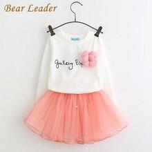 Bear leader lovely girls blanco camiseta y falda de color rosa con Rhinestone Juego de Ropa para Niños Chica Niños Ropa Autmn conjuntos