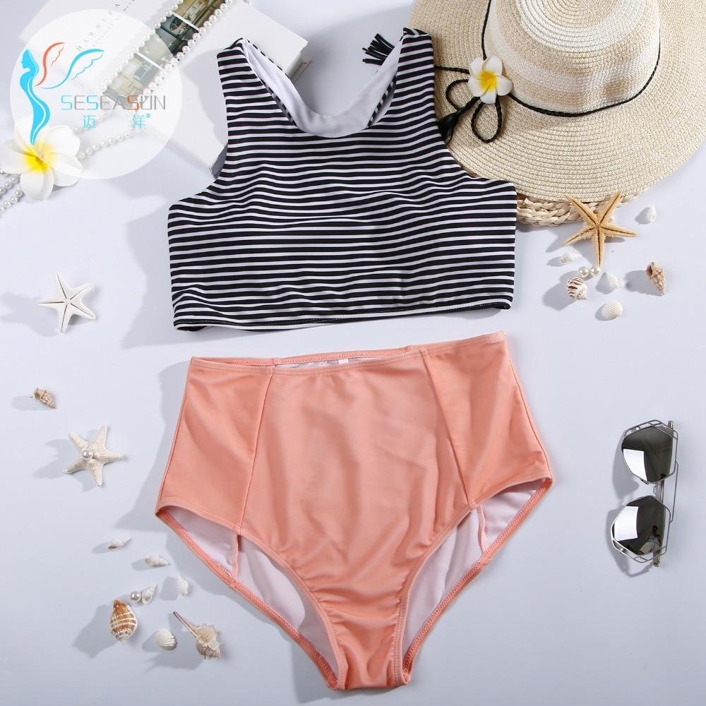 seseasun pin up two piece bikinis set striped push up vest top maillot de bain vintage high. Black Bedroom Furniture Sets. Home Design Ideas