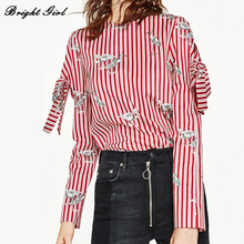 BRIGHT GIRL Red Striped Women Blouse Shirt 2017 Casual Long Sleeve Shirt Fashion Slim Women Tops Antumn Femme Blusas
