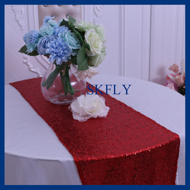 RU0009L Elegant Christmas Birthday Party Wedding Glitter Red Sequin Table  Runner