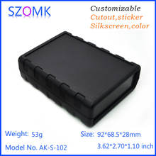 one piece szomk high quality black instrument plastic enclosure for pcb electronic case black device box junction 92*68.5*28mm