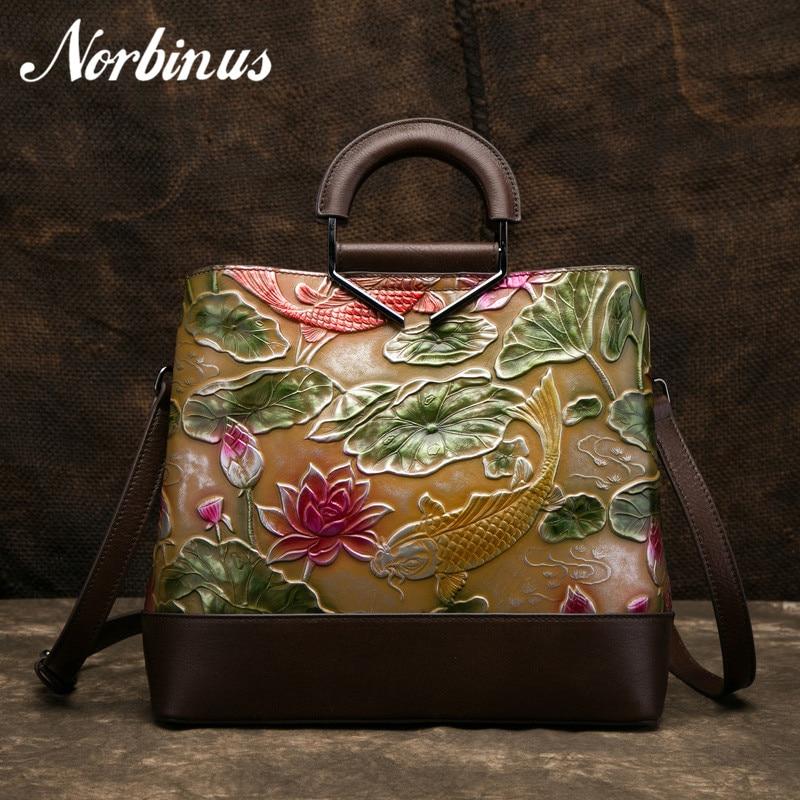 Norbinus High Quality Women Messenger Bags Retro Genuine Leather Shoulder Bag Female Embossed Natural Skin Tote