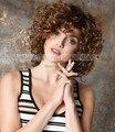Castanho claro Loira Cheia-Cachos de Volume de Calor-Fibra resistente Médio Nenhum cabelo Rendas Peruca Transporte rápido