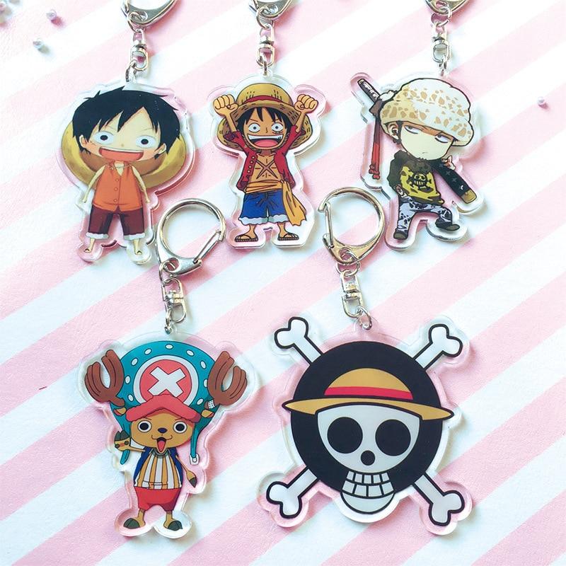 1pcs 6cm Anime Keychain One Piece Keychain Keyrings