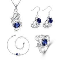 S129-A Plated Zircon Stones Embedded Necklace Earrings Ring Bracelet Chain Jewelry Set Women Jewelry Wedding Party Accessorie