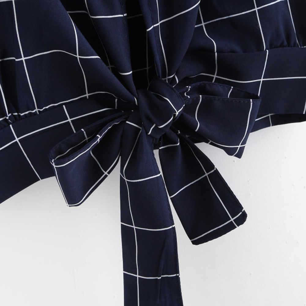 Áo Nữ Tự Thắt Lưng Cổ V quần áo sexy đi biển mùa hè Sọc Vintage Crop Top Yếm Áo đáng yêu Cao Cấp haut Femme # SW