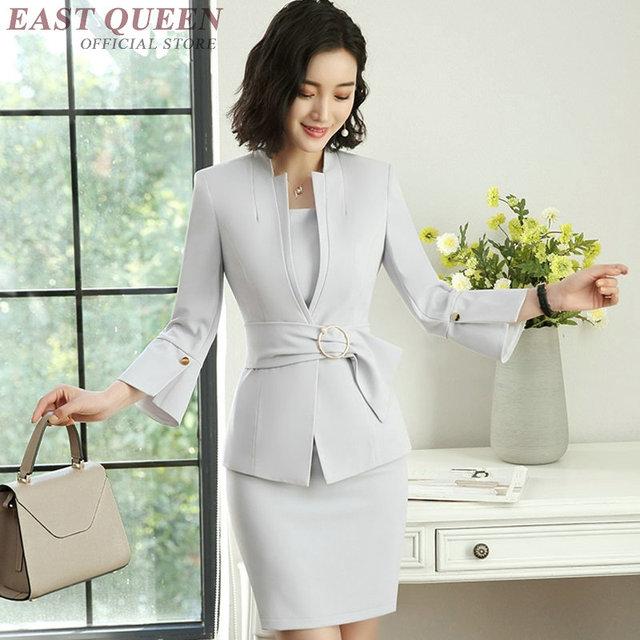 d31bcd40c Traje de entrevista de oficina de negocios uniforme diseños mujeres señoras falda  elegante blazer traje FF1228