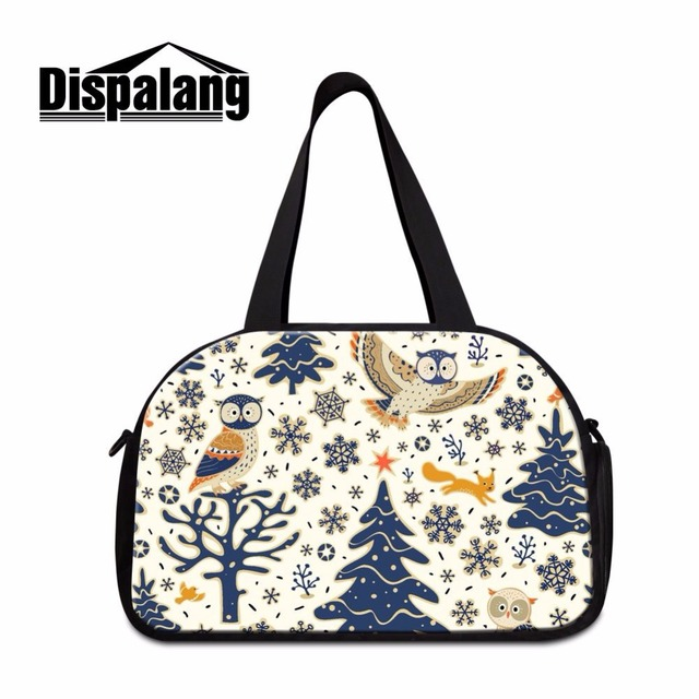5cd1b670af43 Dispalang brand shoulder travel bag ladies luggage handbags cartoon owl  prints large capacity workout duffle bag