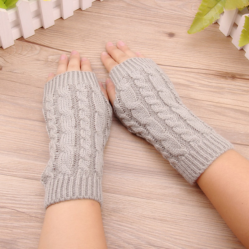 Women Gloves Stylish Hand Warmer Winter Gloves Arm Crochet Knitting Cotton Warm Fingerless Gloves Gants Femme