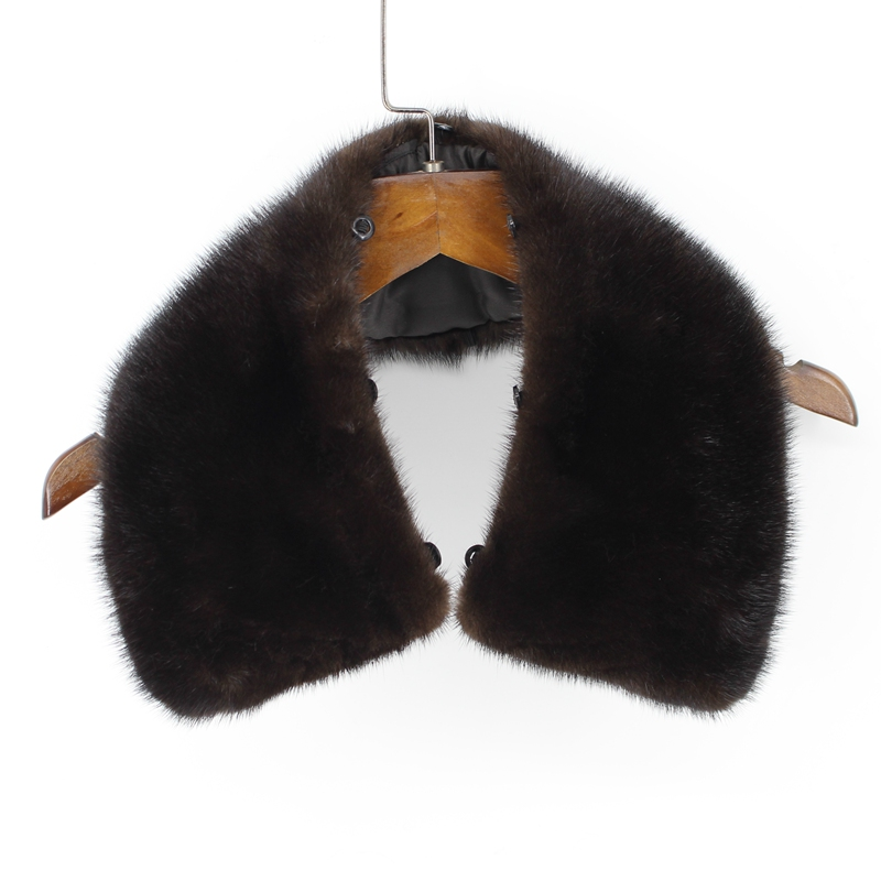 100% genuine real mink fur collar men winter coat scarf accessory women jacket fur collar black coffee chinese retail wholesale