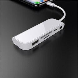 5 in1 Camera Kit di Connessione Per Fulmine SD/lettore di Schede di TF, 3.5 millimetri Auricolare Adattatore USB Della Fotocamera Martinetti & Lampo di Ricarica Convertitore