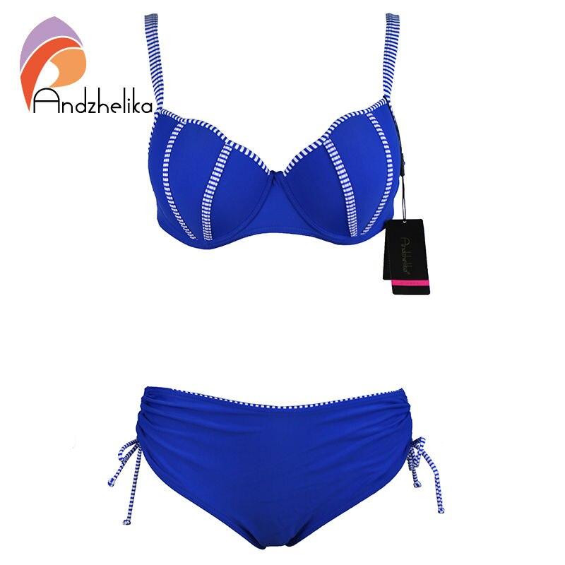 Andzhelika 2017P lus Size Swimsuit Women Bikini Set Sexy Solid Striped Brazilian Push Up Bikinis set Swimwear Maillot de bain цена и фото