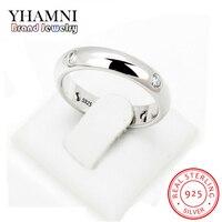 YHAMNI 4 мм женское серебряное отполированное кольцо обручальное кольца из стерлингового серебра 925 простое Помолвочное кольцо женские ювелир...