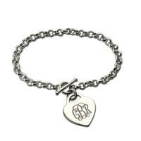 Wholesale Personalized Monogram Heart Bracelet Silver Monogrammed Initials Bracelet Nameplate Charm Bracelet Unique Design