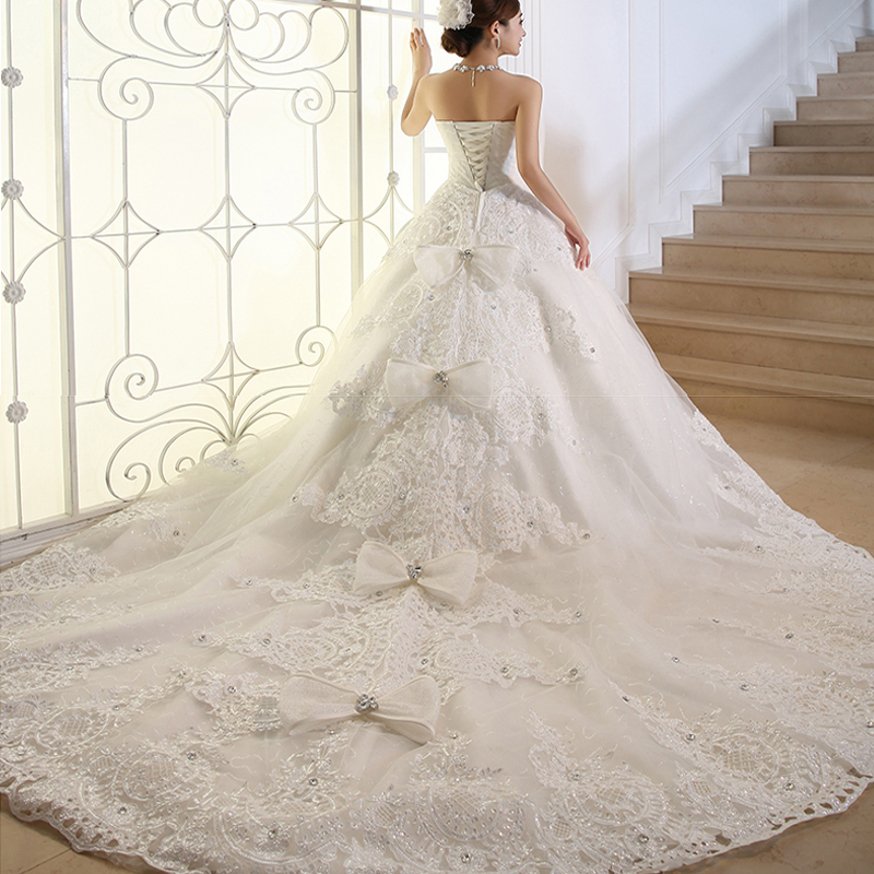 Plus Size Wedding Dress Crystal 100cm Long Train Wedding