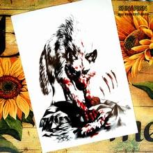 Bloodthirsty Wolf Temporary Tattoo Body Art Flash Tattoo Stickers 12x20cm Waterproof Henna Tatoo Styling Home Decor Wall Sticker