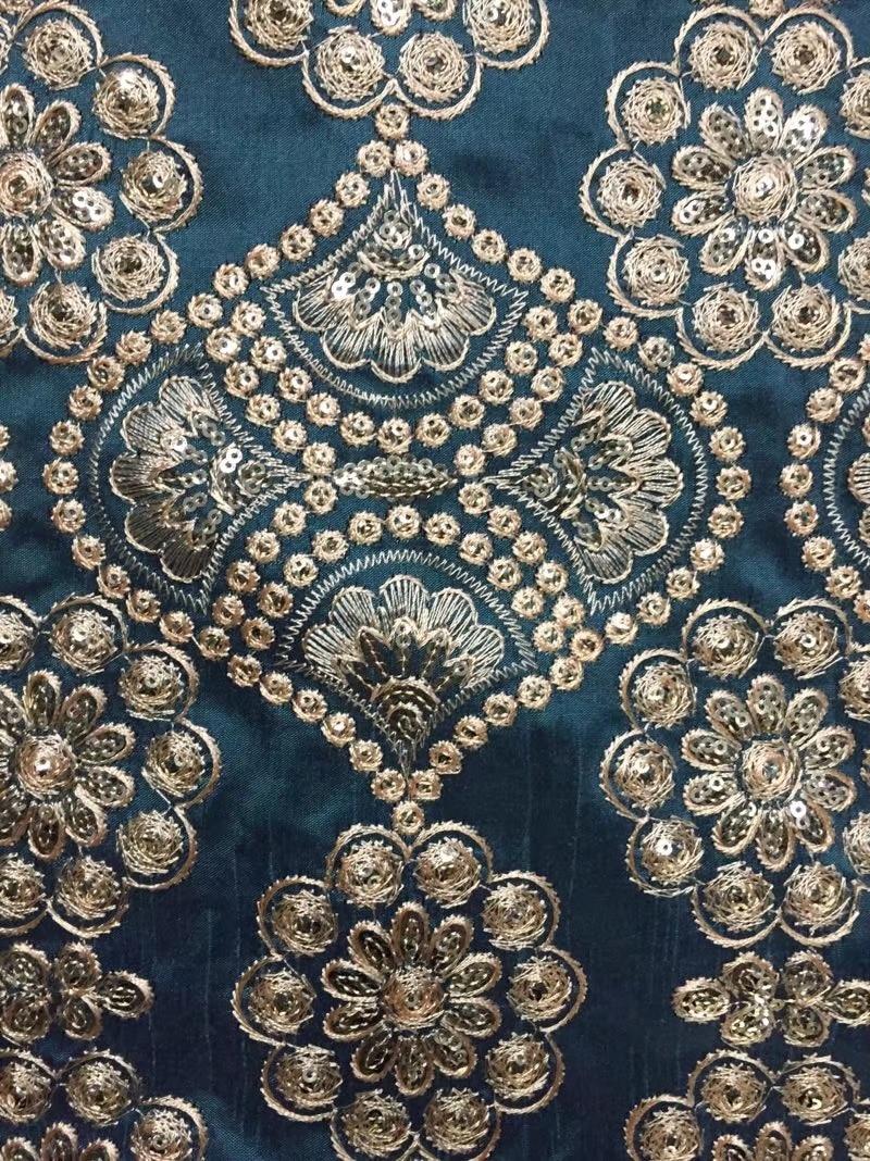 Verde Azul Flor Estilo Art Deco Vintage Jacquard Tejido Cinta 25mm R003