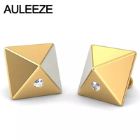 Unique Stereo Pyramid Earrings Round Cut Natural Diamond Party Stud Earrings Solid 14K 585 Two Tone Gold Earrings For Women