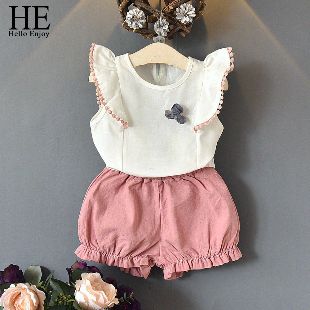 HE Hello Enjoy Summer Children Clothing 2018 Fashion Kids Clothes Sleeveless White Tops+Shorts Suits Toddler Girls 2 Piece Set