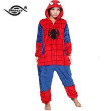 Shineye SpiderMan Unisex Adults Casual Flannel Hooded Pajamas Cosplay Cartoon Animal Onesies Pyjamas  For Women Men